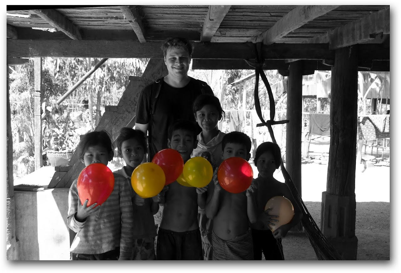 Patrick with kids and balloons