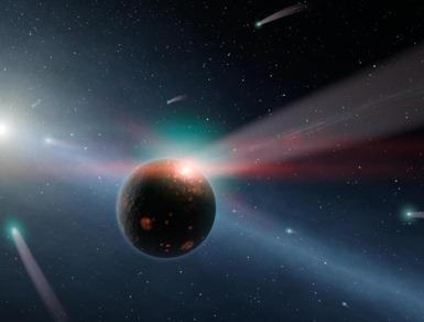 tempestade de cometas ao redor da estrela Eta Corvi