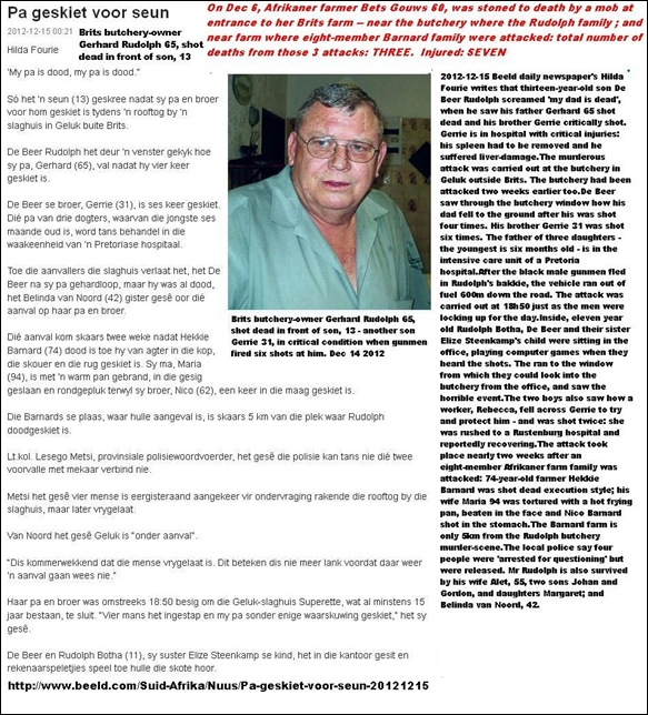 RUDOLPH GERHARD BUTCHERY OWNER GELUK BRITS SHOT DEAD EXECUTION STYLE DEC 14 2012