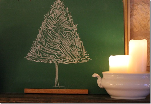 christmas old chalkboard with tree
