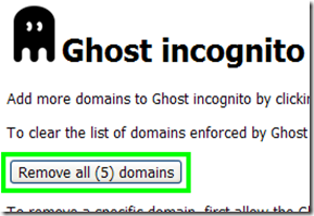 Ghost incognito Remove all domains