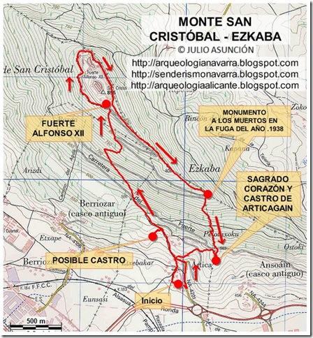 Mapa monte San Cristóbal - Ezkaba