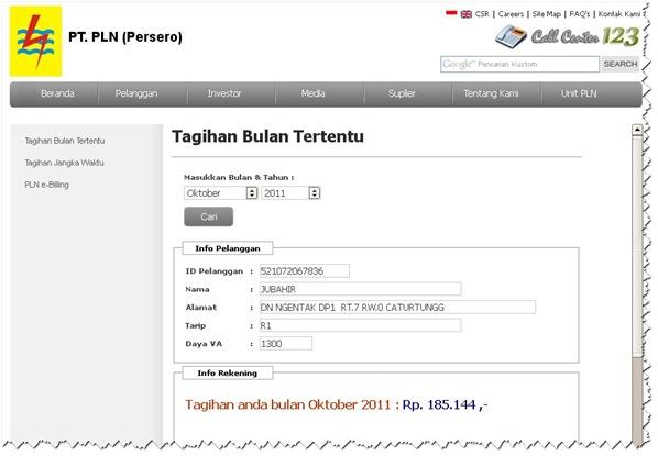 Cek tagihan listrik secara online