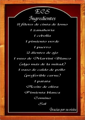 Pizarra ingredientes