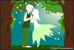 Faire-part de mariage elfes foret enchantée carré format paysage