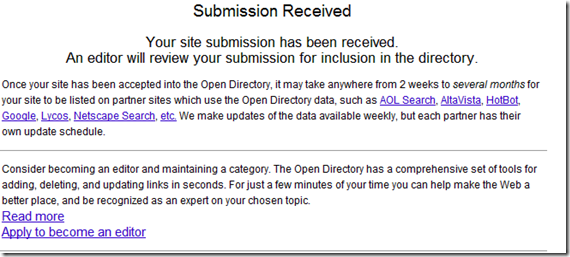 Your site submission has been received in DMOZ