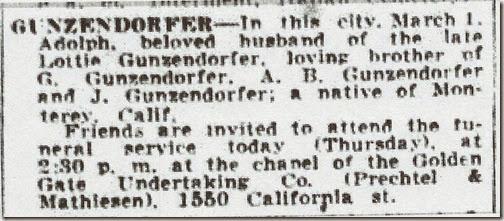 Adolph Gunzendorfer Obit SF Examiner 3 Mar 1932 Page 19