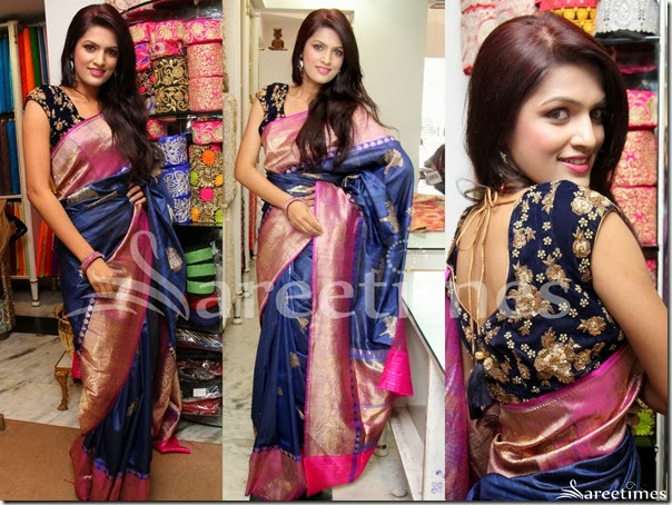 Ritu_Biradar_Blue_Silk_Saree