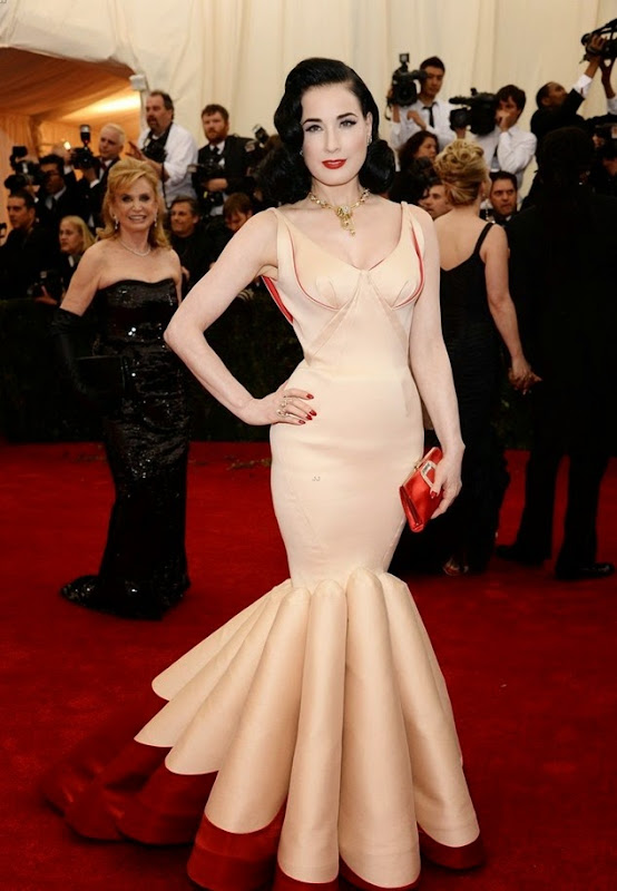 "NEW YORK, NY - MAY 05:  Dita Von Teese attends the ""Charles James: Beyond Fashion"" Costume Institute Gala at the Metropolitan Museum of Art on May 5, 2014 in New York City.  (Photo by Dimitrios Kambouris/Getty Images)"