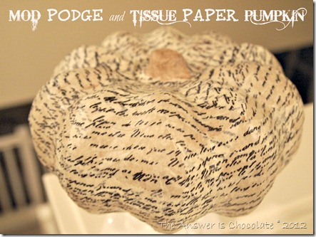 Mod Podged Tissue Papered Pumpkin