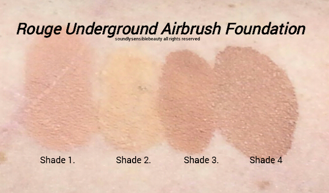 Luminess Air Mist Spray, Airbrush Foundation Swatches of Shades
