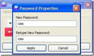 Removable Access Tool settare password di accesso