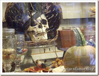 crowned skull, southern style wine goblets and bird on maple leaf