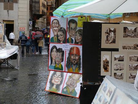 Obiective turistice Roma: caricaturi in Piazza Navona