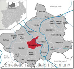 Map of Westfalen (Westphalia) province of Germany.