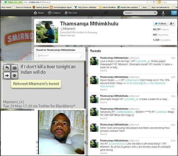 ANC MEMBER THAMSANQA MTHIMKHULU IF I DONT KILL A BOER TONIGHT AN INDIAN WILL DO MAY 29 2012