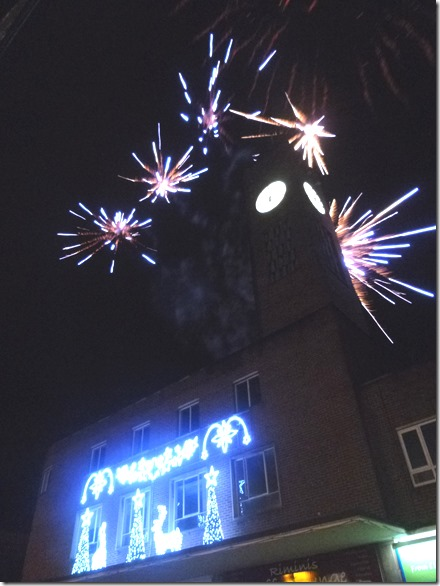 Rockets launched from the roof of the Crewe Town Clock