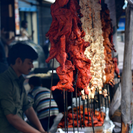 food stall at food street of mosque road by RKiranKumar Pictures - Food & Drink Meats & Cheeses ( chicken, bangalore, ramzan, street, meat, kebabs, holy, rolls,  )