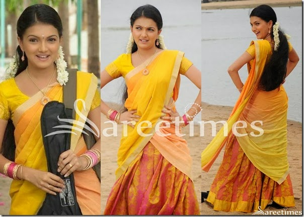 Saranya_Mohan_Yellow_Half_Saree