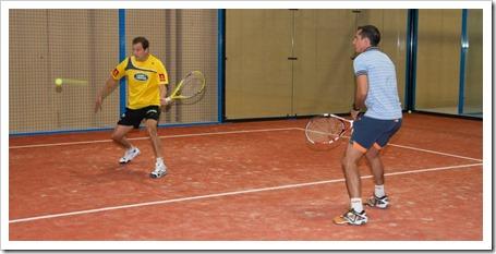 Juan Martín Díaz y David Gutiérrez jugando al BQUET en Sanset Pádel Indoor Club