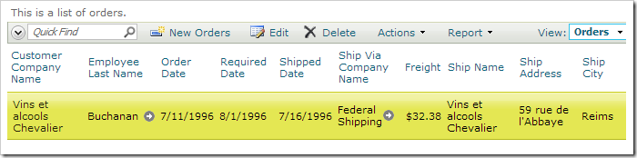 Order record with new order date.