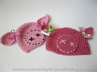 pink pig hat for baby