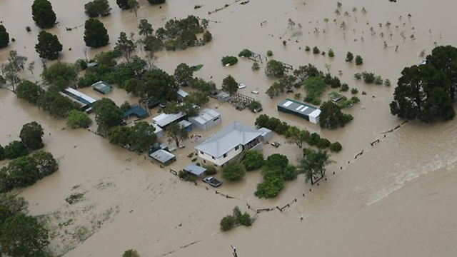 Aerial view of flooding in Pullenvale, Queensland. Photo: John Grainger / The Daily Telegraph