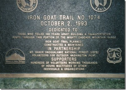 Iron Goat Trail Dedication Plaque at Martin Creek Trailhead in 1998