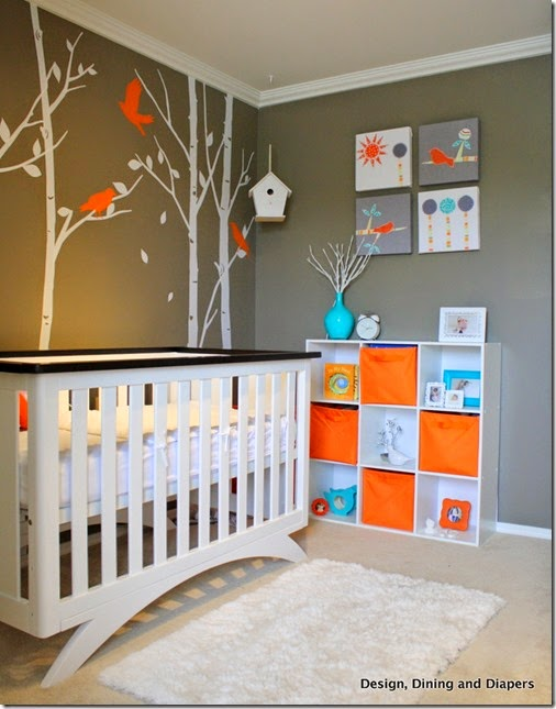 Awesome-Gray-and-White-Baby-Nursery-Room-Design-with-Beautiful-Painting-Frame-Wall-Decorating-Ideas-and-Useful-White-Wooden-Bookcase-Furniture-Design-and-Modern-White-Baby-Nursery-Bed-Furniture-for-Modern-Baby-Nursery-R