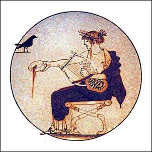 Apolo con lira y pajaro
