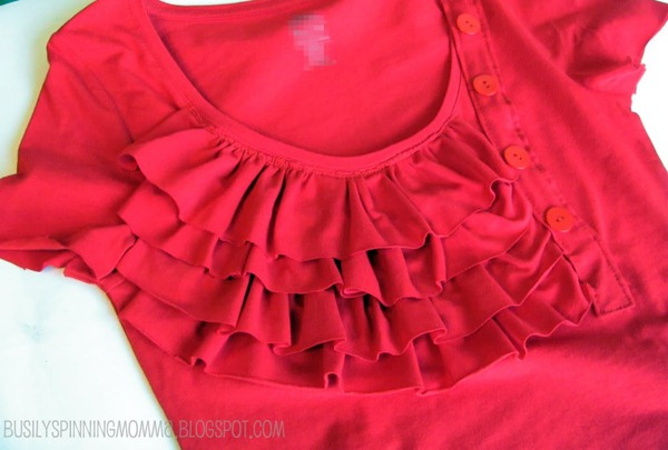 ruffles and button tee tutorial
