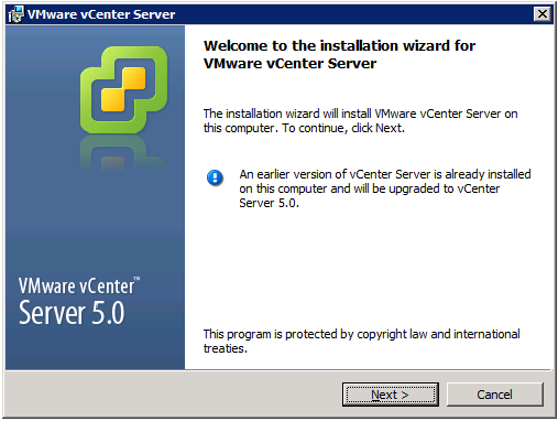 VMware vCenter Server Installer - Welcome screen