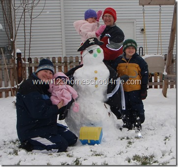 Build a snowman pirate kids activity