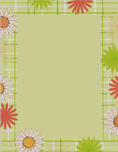 Daisy plaid spring flowers paper stock 1
