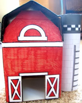 Cardboard Red Barn with Silo 4
