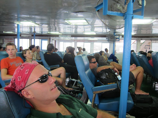 Trying to catch some Zs on the ferry from Koh Phangan while on our way to Malaysia.