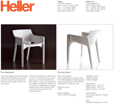 New Gaudi chair technical data sheet