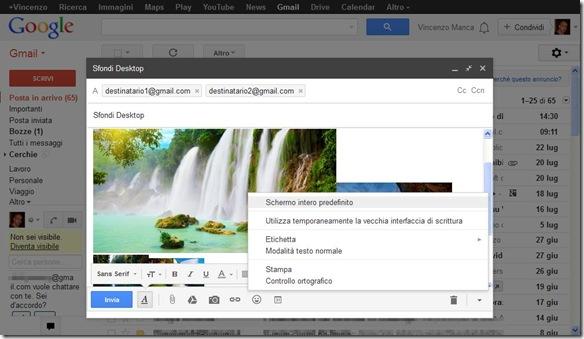 Gmail scrivere email a schermo intero