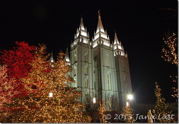 Salt Lake Temple and Christmas Lights on Temple Square, Salt Lake City, Utah