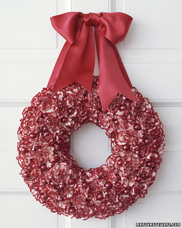 Carnations can be used in a number of ways including a festive holiday wreath like this one which is accented with red glass ornaments.