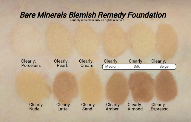 BareMinerals Blemish Remedy Foundation; Acne Clearing Powder Foundation; Review &  Swatches of Shades 1) Clearly Porcelain, 2) Clearly Pearl,  3) Clearly Cream, 4) Clearly Medium,  5) Clearly Silk, 6) Clearly Beige,  7) Clearly Nude, 8) Clearly Latte,  9) Clearly Sand, 10) Clearly Amber,  11) Clearly Almond, 12) Clearly Espresso
