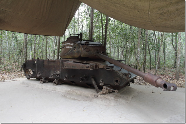 US Army tank in ruins at CuChi Tunnels, Vietnam