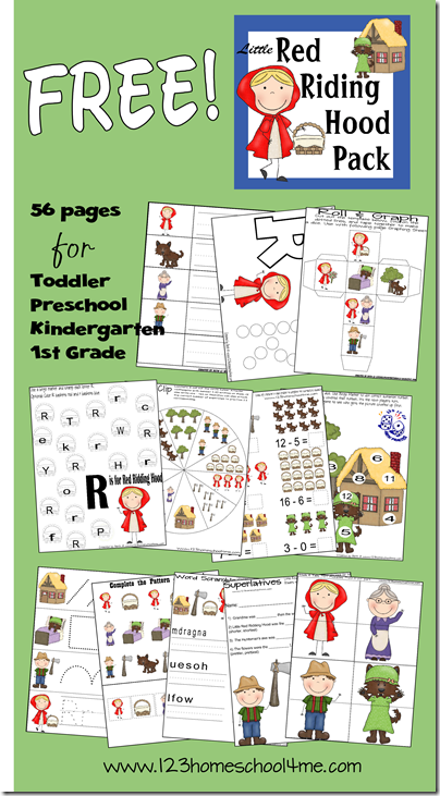 Worksheets for Kids - Little Red Riding Hood theme for PreK-2nd grade #preschool #kindergarten #worksheets