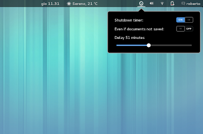 Shutdown Timer su Gnome Shell