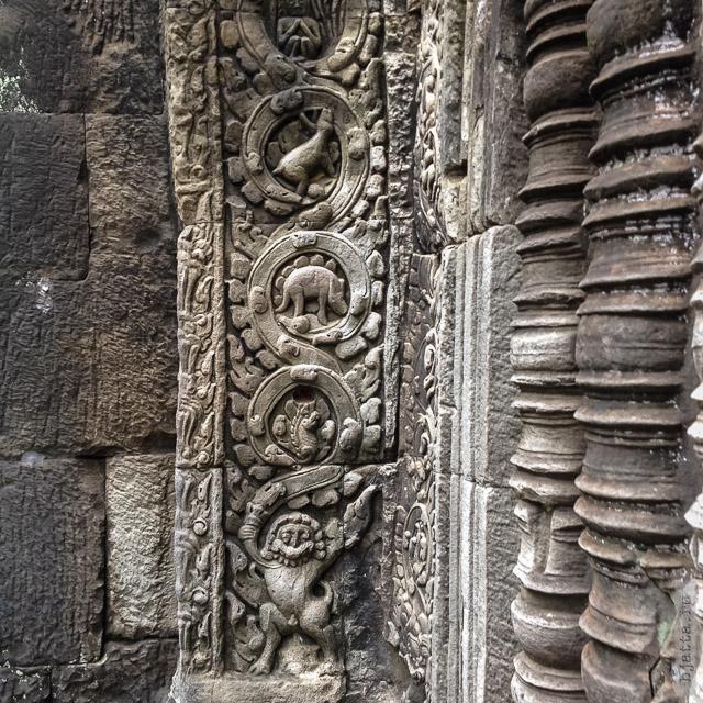 8. Ангкор Том, Angkor Tom. Хорошо различим стегозвар смущающий умы учёных. Мол, неужели строители знали о динозварах.
