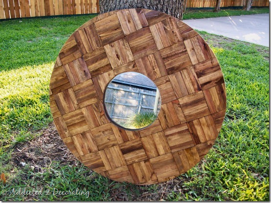 decorative mirror made of wood shims 1