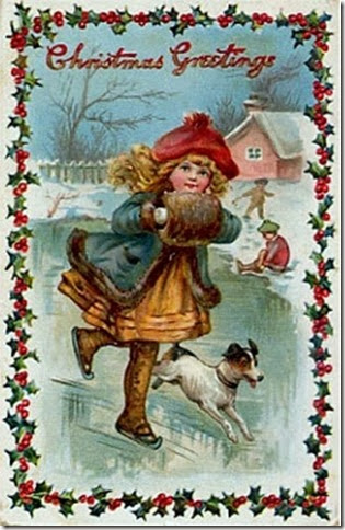 Christmas Vintage Ice Skating
