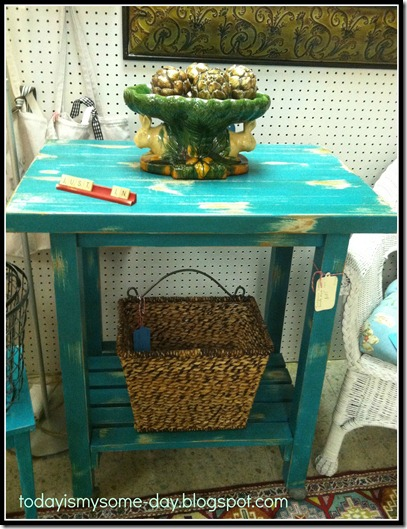 turquoise distressed table and scrabble tile.jpg