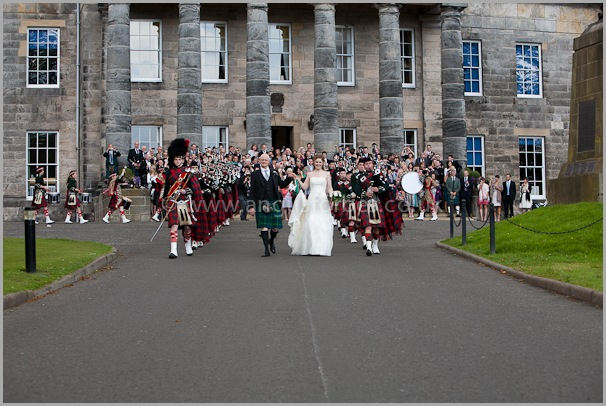 scottish weddign venue with pipe band