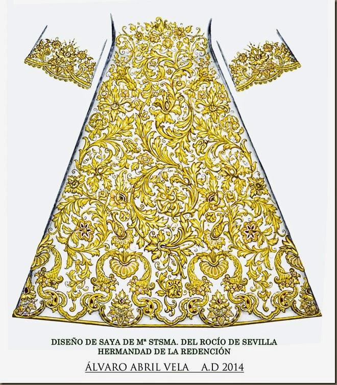 DISEÑO DE SAYA VIRGEN DEL ROCIO DE SEVILLA HERMANDAD RENDENCION BESO  DE JUDAS LUNES SANTO ALVARO ABRIL VELA 2014 ARTE COFRADE